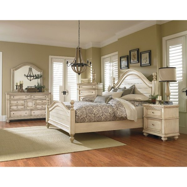 white king bedroom furniture sets Heritage Antique White 6-Piece King Bedroom Set