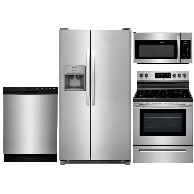 kitchen appliance packages stainless steel dining table frigidaire 4 piece electric package with side by ss 4pc ele kitpkg