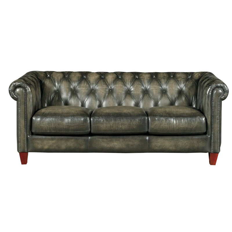 Traditional Charcoal Gray Leather Sofa Fusion RC