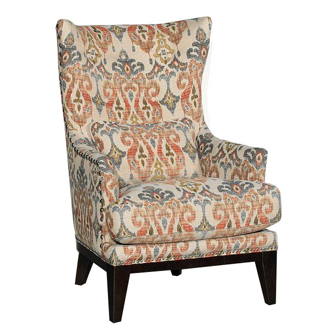 Traditional Sand Pattern Wingback Chair  Silver Lake  RC