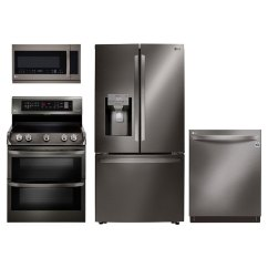 Lg Kitchen Appliances Pine Bench 4 Piece Appliance Package With Electric Range Black Diamond Rc Willey Furniture Store