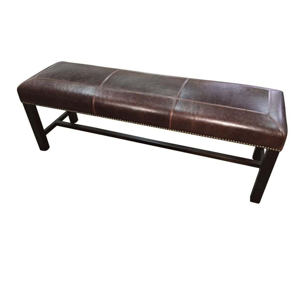 Old Tannery Brown Leather Bench