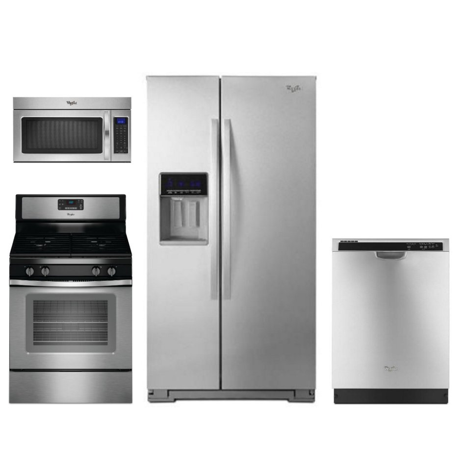 Whirlpool 4 Piece Kitchen Appliance Package with 50 cu ft Gas Range  Stainless Steel  RC