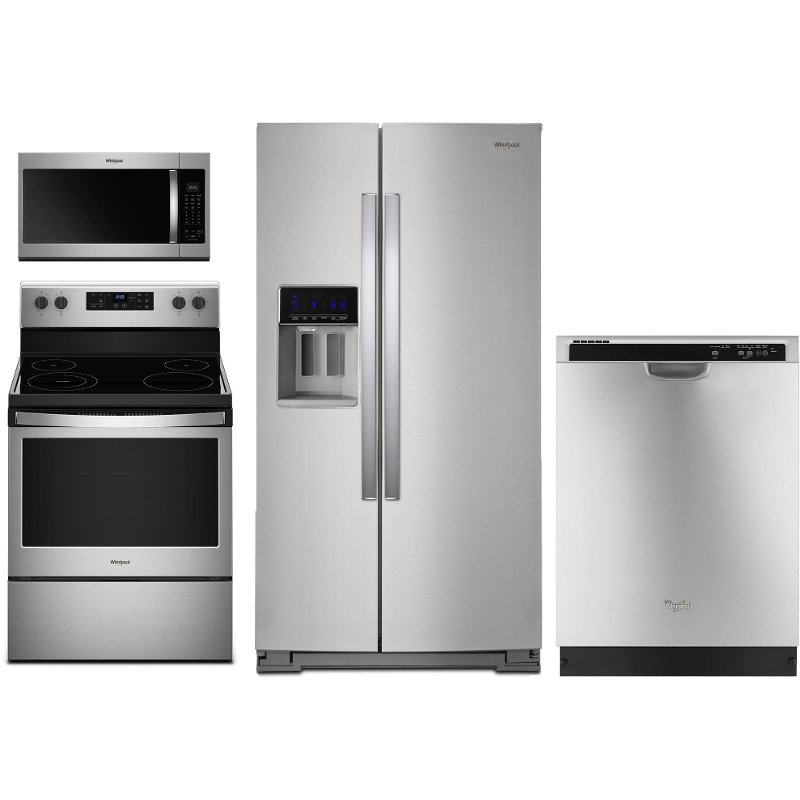 Whirlpool 4 Piece Kitchen Appliance Package with Electric Range  Stainless Steel  RC Willey