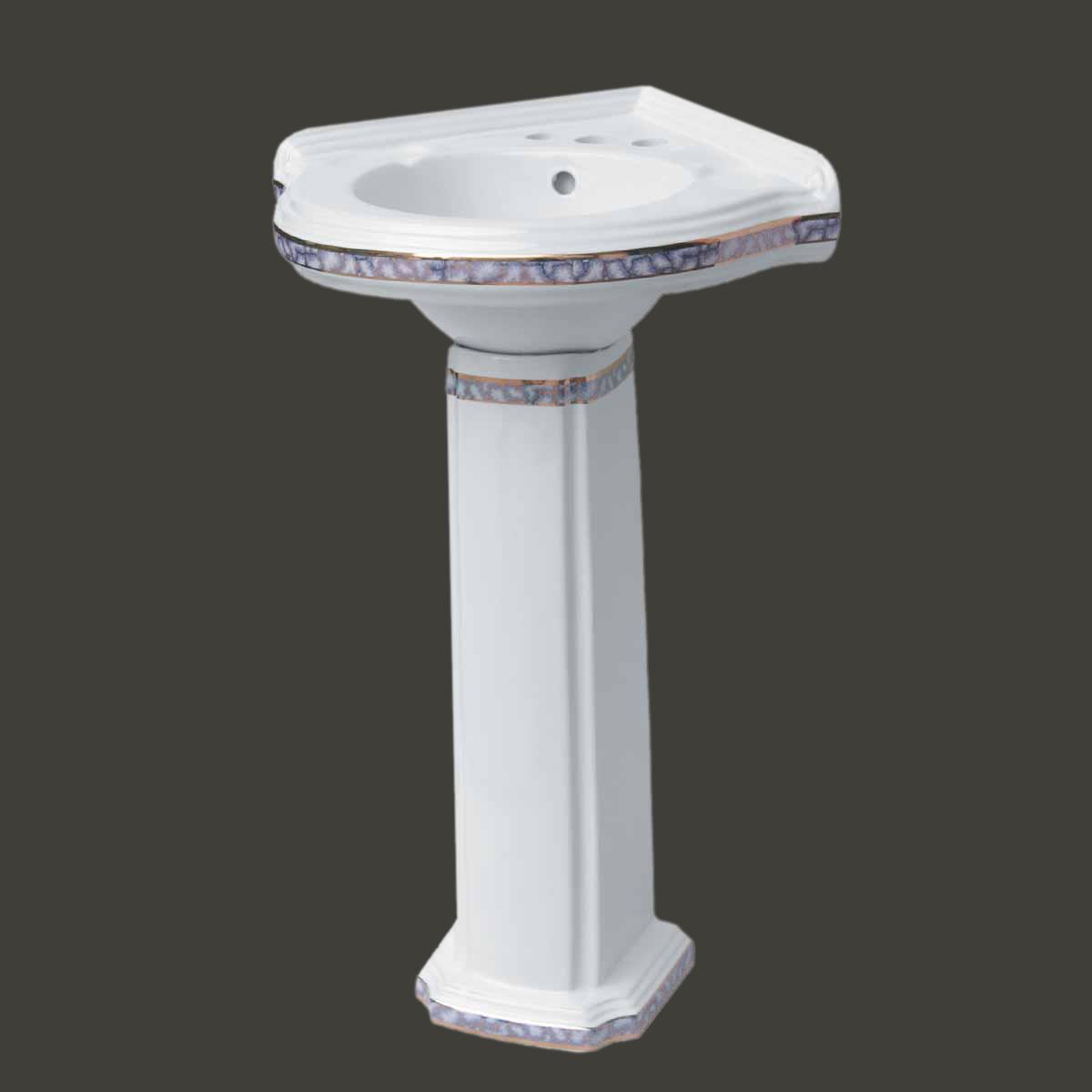 Bathroom Corner Pedestal Sink White China Gold Trim