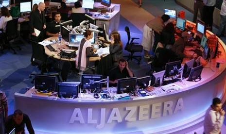 Suasanan newsroom di kantor pusat Aljazirah.