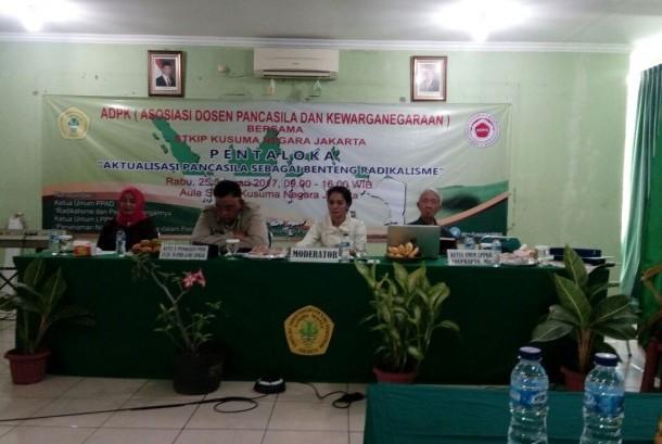 """Forum Pentaloka bertajuk """"Aktualisasi Pancasila Sebagai Benteng Radikalisme di Lingkungan Perguruan Tinggi"""" di STKIP Kusuma Negara, Rabu (25/1)."""