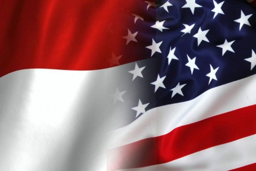 Bendera Indonesia dan Amerika Seikat