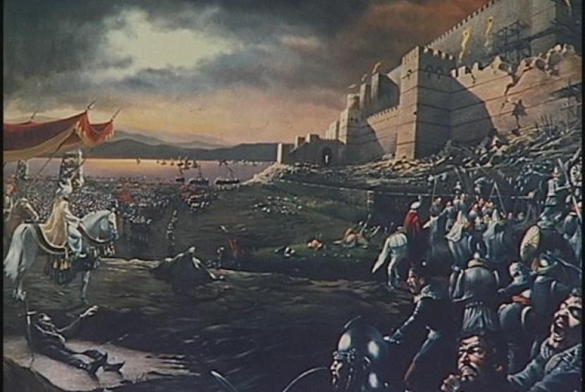 Lukisan saat Sultan Muhammad al-Fatin merebut kota Konstantinopel
