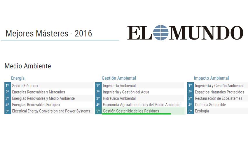 El Máster en Gestión Sostenible de los Residuos, entre los mejores en Gestión Ambiental en España