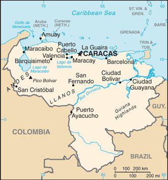 ベネズエラの地図です。カラカスの位置をご確認ください。