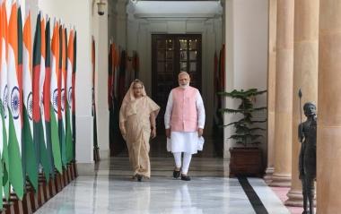 Bangladesh's Prime Minister Sheikh Hasina walks with Indian Prime Minister Narendra Modi during her visit to New Delhi on April 08, 2017. Picture courtesy: Twitter handle @narendramodi.