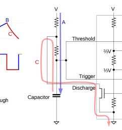 diagram showing how the 555 timer can operate as an oscillator  [ 1478 x 641 Pixel ]