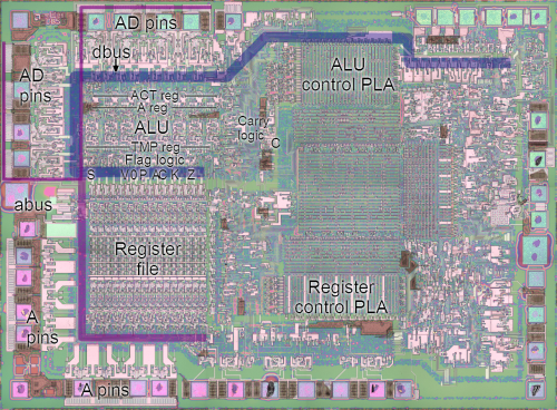 small resolution of photograph of the 8085 chip showing the location of the alu flags and registers