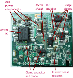 primary circuit board from apple iphone charger showing the l6565 controller ic [ 918 x 924 Pixel ]