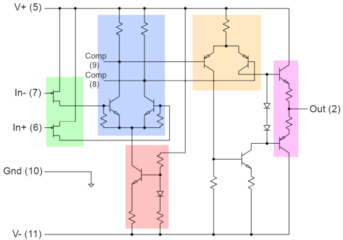 small resolution of schematic of the 2404bg op amp