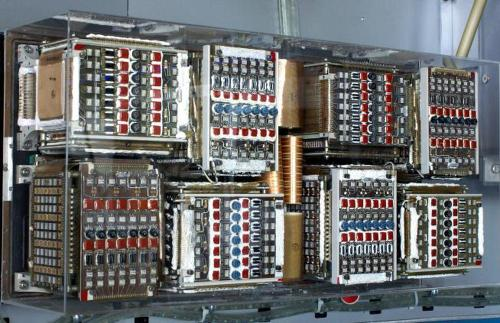The LVDC held up to eight core memory modules. Photo at US Space & Rocket Center, courtesy of Mark Wells.