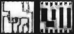 Top and underside of a ULD showing the silicon dies and resistors. While SLT modules had resistors on the upper surface, ULD modules had resistors underneath, increasing the density but also the cost. From IBM Study Report Figure III-11.