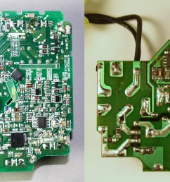 the circuit board of the apple 85w macbook charger left compared with an imitation [ 6080 x 2272 Pixel ]