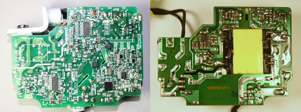 medium resolution of the circuit board of the apple 85w macbook charger left compared with an imitation