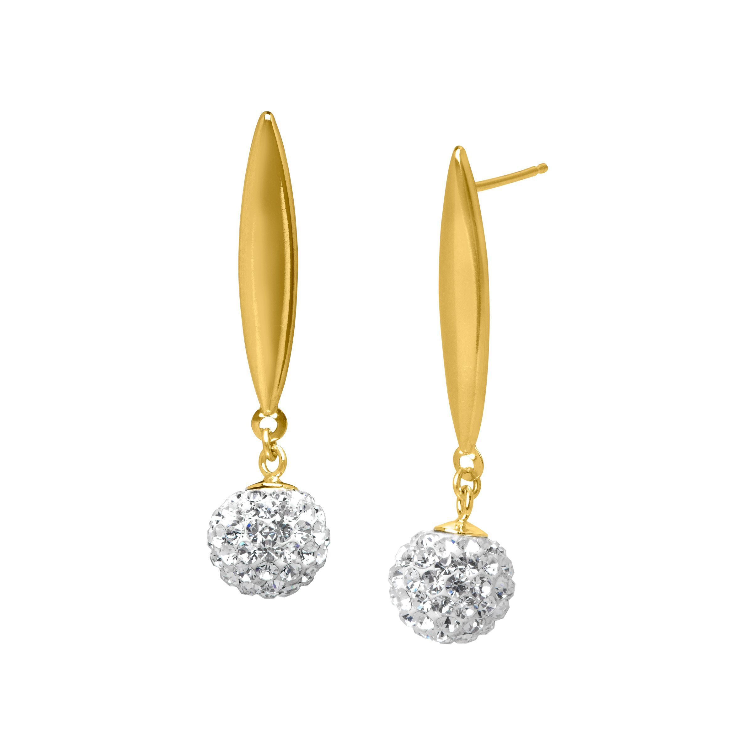 Drop Earrings with Swarovski Crystal in 14K Gold