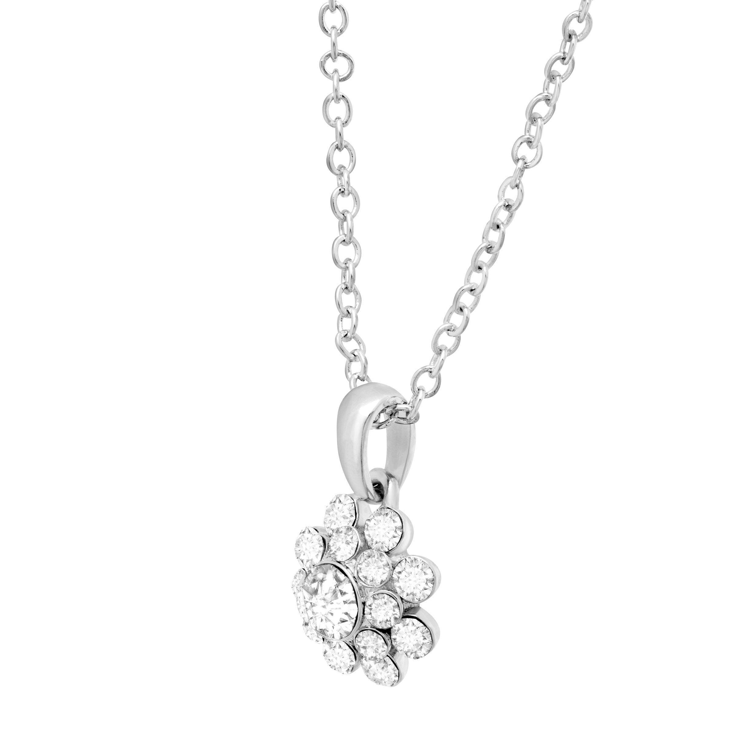 Crystaluxe Swarovski Crystals Flower Pendant in Sterling