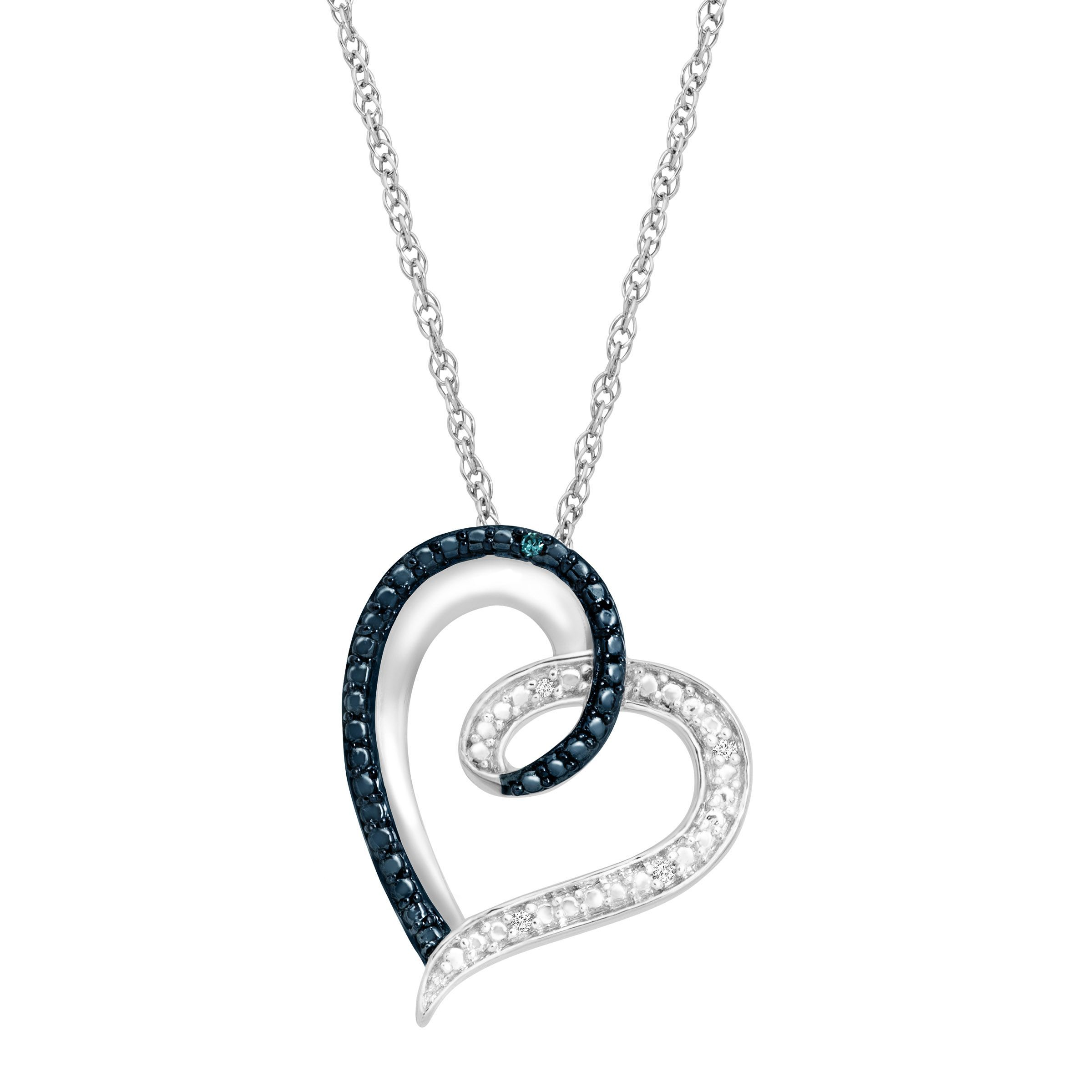 1aca67f9401 Heart Pendant Necklace With Blue And White Diamonds In Sterling Silver 18