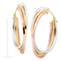 Stacked Three-Tone Hoop Earrings in 14K Two-Tone Gold ...