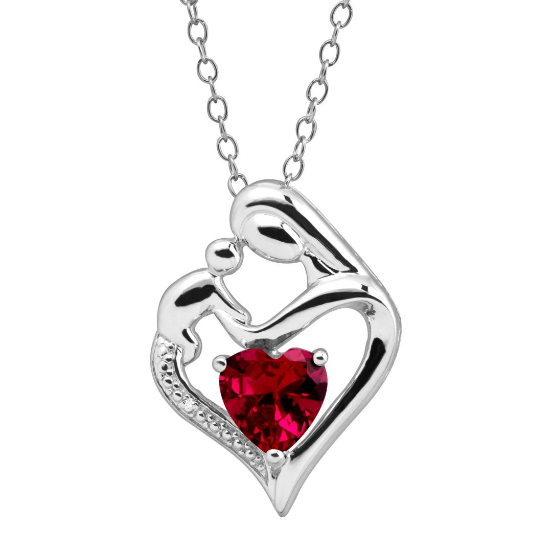 Birthstone Mother & Child Heart Pendant with Diamond Sterling Silver, All Months