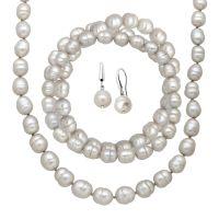 Grey Freshwater Ringed Pearl Earring, Bracelets & Necklace ...