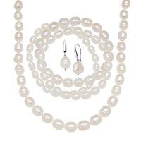 White Freshwater Pearl Earring, Bracelets & Necklace Set ...