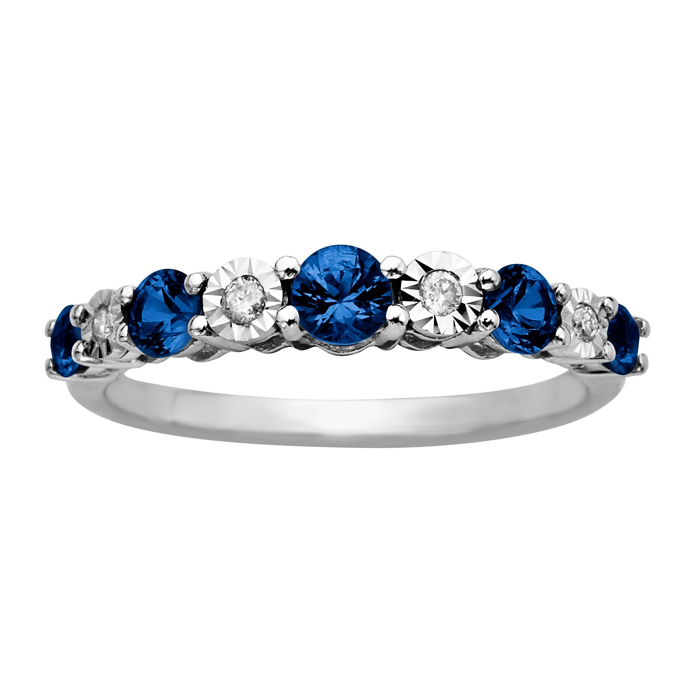 3/4 ct Created Sapphire Ring with Diamonds in 10K White