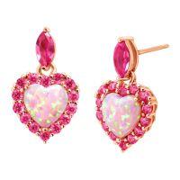 2 ct Opal & Sapphire Heart Earrings in 18K Rose Gold ...