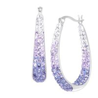 Crystaluxe Oval Hoop Earrings with Lavender Swarovski ...