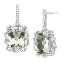 5 1/2 ct Natural Green Amethyst & 1/4 ct Diamond Drop ...