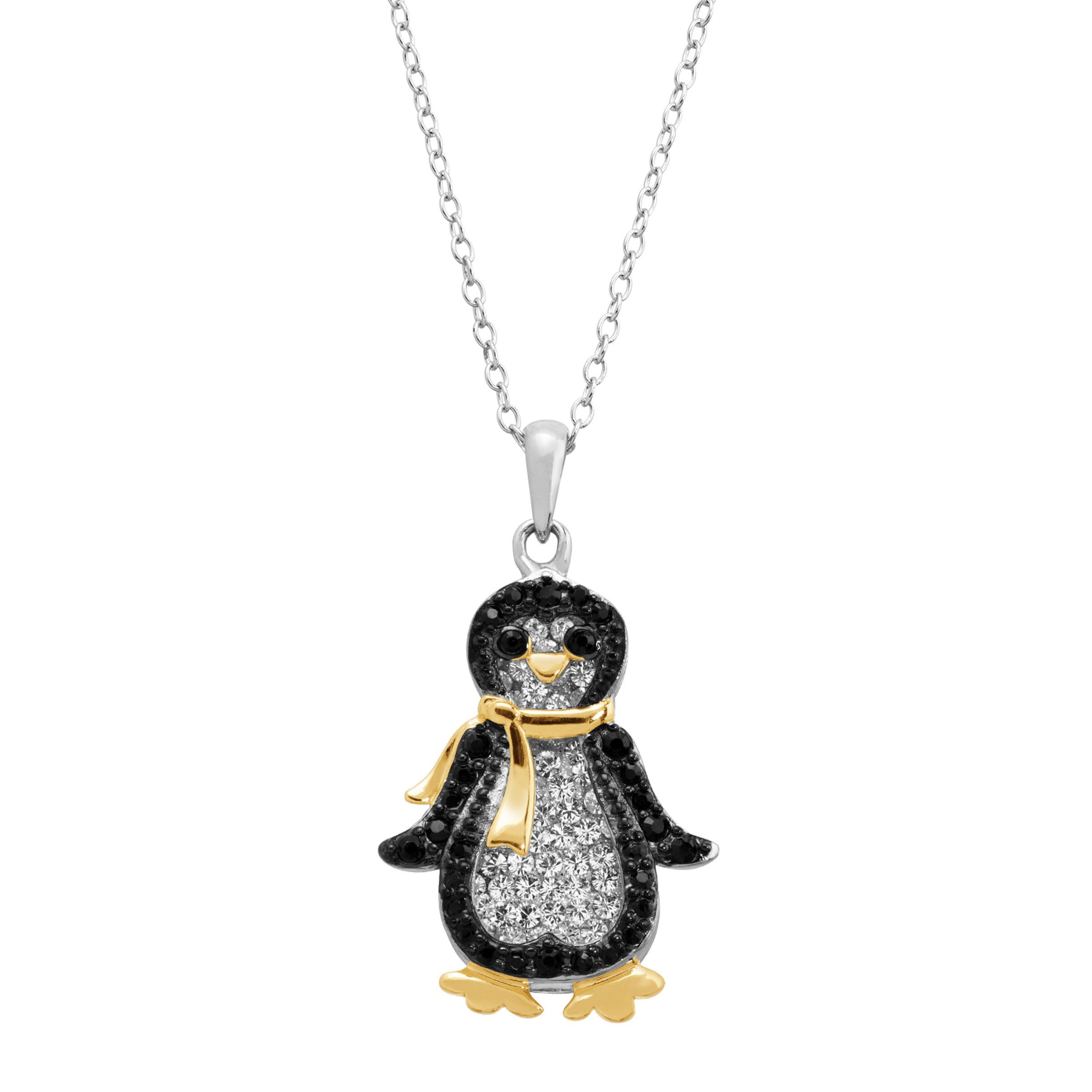 Penguin Pendant With Swarovski Crystals In 18k Gold Plated Sterling Silver