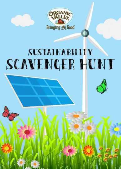 Cover of the sustainability scavenger hunt booklet. Click to download.