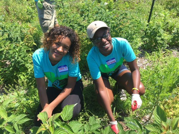 Two African-American teenagers pull weeds and smile at the camera.