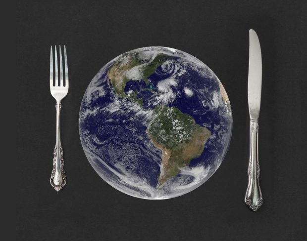 Image of place setting, with the earth as the plate.