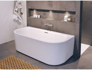 riho desire baignoire semi ilot 180x84x59 5cm acrylique remplissage chrome blanc