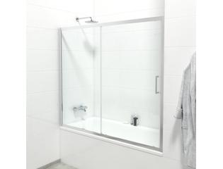 saniclass id06 quick fit pare bain avec porte coulissante a 2 elements 170x150cm verre de securite 6mm anti calcaire chrome
