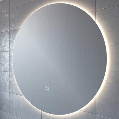 adema circle miroir salle de bain rond diametre 120cm avec eclairage led indirect chauffe miroir et interrupteur touch