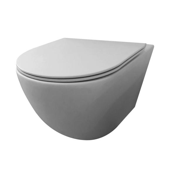 best design morrano compact rimfree wc suspendu 49cm sans bride avec abattant wc frein de chute gris mat