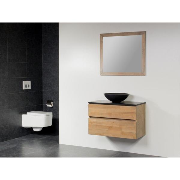 Saniclass Natural Wood Meuble Salle De Bain Avec Miroir 80cm Suspendu Grey Oak Avec Vasque A Poser Noir Sawiday Fr