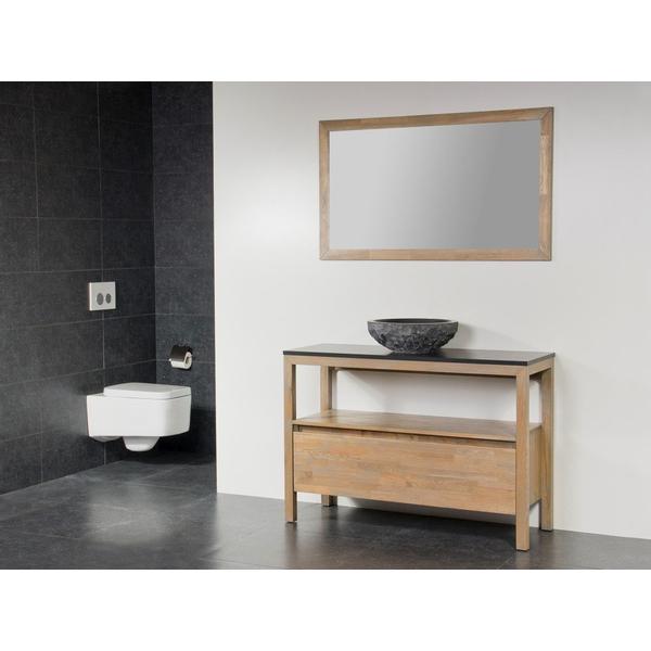 Saniclass Natural Wood Meuble Salle De Bain Avec Miroir 100cm Grey Oak Avec Vasque A Poser En Pierre Naturelle Sawiday Fr