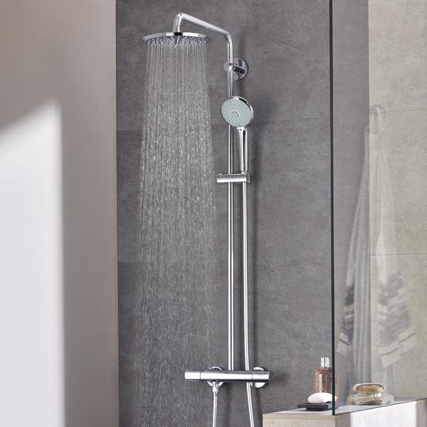 grohe euphoria colonne de douche thermostatique avec douche de tete euphoria 21cm et douchette a main massage chrome