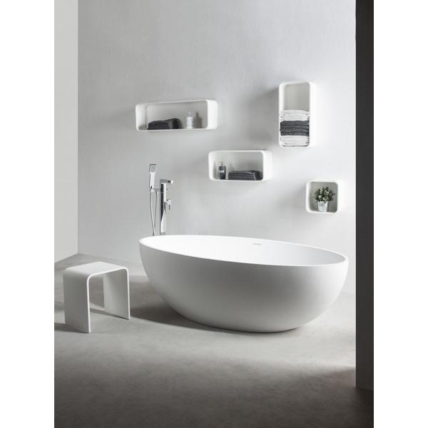 ideavit solidellipse baignoire ilot 180x88cm ovale solid surface blanc