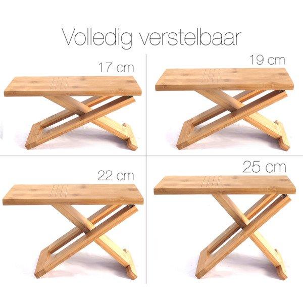 relaxx tabouret de toilette pliant hauteur reglable en bambou 2 pieces