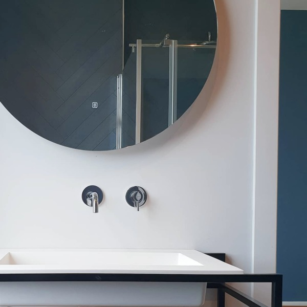 adema circle miroir salle de bain rond diametre 100cm avec eclairage led indirect chauffe miroir et interrupteur touch