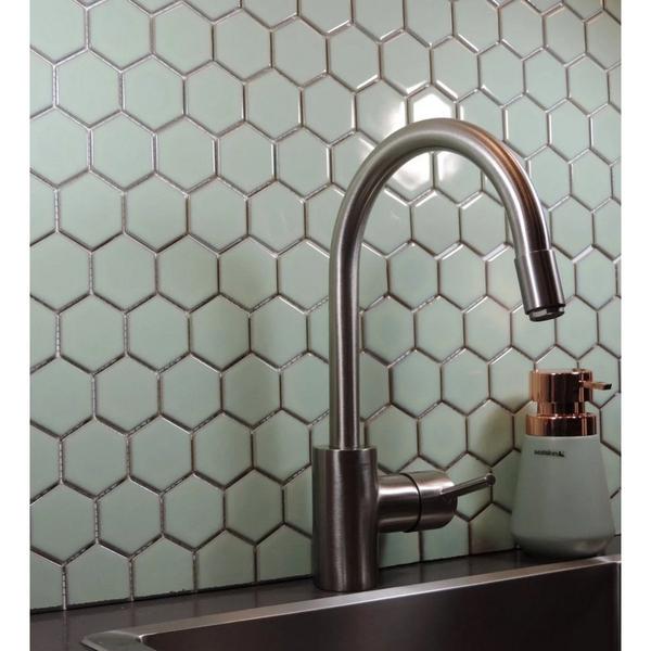 the mosaic factory barcelona carrelage mosaique 32 5x28 1cm pour mur interieur et exterieur hexagonal ceramique vert amande